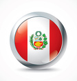 Peru flag button vector image vector image