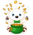 Polar Bear juggles gold coins vector image vector image