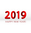 red 2019 symbol happy new year isolated on white vector image vector image