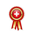 red rosette with switzerland in gold badge vector image