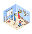 room repair isometric composition vector image