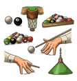 set billiard stick balls chalk pocket and lamp vector image vector image