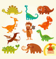 set funny prehistoric animals cartoon character vector image vector image
