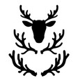 set of deer horns design element for logo label vector image