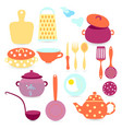 set with kitchen tools and utensils vector image