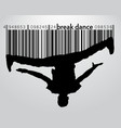 silhouette of a break dancer and barcode vector image