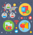 social network and social media flat concept vector image vector image