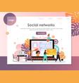 social networks website landing page design vector image vector image