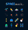 space objects - colorful flat design style icons vector image vector image