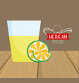 tequila shot and lime mexican food traditional vector image