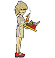 unkempt waitress with a tray vector image vector image