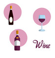 wine round icons vector image vector image