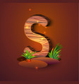 wooden letter s decorated with grass vector image vector image