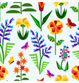 Abstract geometrical flowers seamless pattern vector image