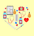 heart form with medicine icons vector image