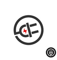 Electric plug in wire icon Power source logo with vector image