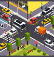 autonomous vehicle isometric background vector image vector image