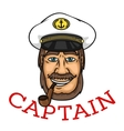 Bearded captain with pipe and white cap vector image