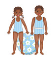black african american kids in summer swimsuits vector image vector image