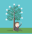 businessman under lightbulbs tree vector image
