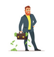 businessman with suitcase with money vector image vector image
