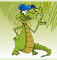 cartoon character cheerful crocodile in a cap vector image vector image