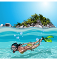 cartoon woman with flippers dived under water vector image