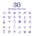 Christmas line icon set vector image vector image