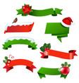 christmas ribbon set vector image vector image