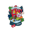 christmas the piggy came to vector image vector image