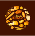 circle shape composition from cartoon style bread vector image