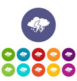 cloud lightning icons set color vector image vector image