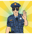 cool policeman serious police officer pop art vector image vector image