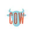 cow bull vintage typography lettering retro vector image