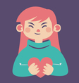 Cute Girl Holding a Heart vector image vector image