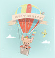 cute pig boy fly with balloon and floral wreath vector image vector image