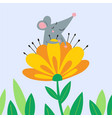 cute rat sitting in flower vector image