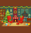 decorated christmas room winter holiday interior vector image vector image