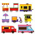 different food trucks set vector image vector image