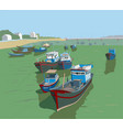 fishing boats on river kai landscape sketch vector image vector image