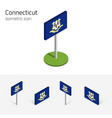 flag of connecticut usa 3d isometric icons vector image vector image