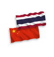 flags thailand and china on a white background vector image