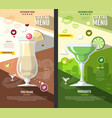 flat style cocktail menu design vector image vector image