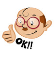 funny human emoji with a ok letters on white vector image vector image