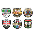 gamble games casino poker cards and dice vector image vector image