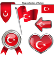 Glossy icons with Turkey flag vector image vector image