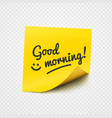 good morning note on yellow sticky paper vector image