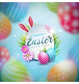 happy easter with colorful painted vector image vector image
