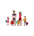 happy young family shopping flat concept vector image vector image