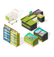 isometric constructions for supermarket or vector image vector image